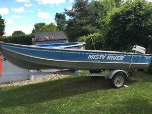 16' Misty River Aluminum Boat, Motor and Trailer