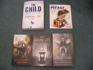 3 books by Ransom Riggs, 1 by Fiona Barton, 1 pet rat training