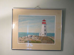 Nice Acrylic Painting of the Lighthouse at Peggy's Cove