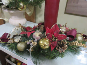 Christmas centerpiece with burgandy candle