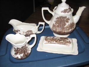 ROMANTIC ENGLAND IRONSTONE DISHES.--MOVING SALE