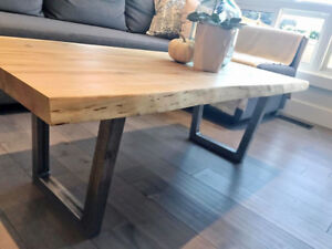 Solid Natural Maple Live Edge Coffee Table
