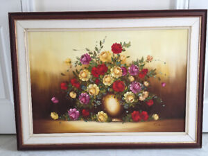 Vibrant Oil Painting of Lively Flowers by Denis