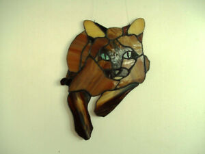 Stained glass siamese cat