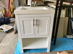 Vanity cabinet, sink and faucet
