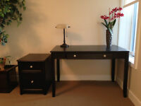 Solid Dark Wood Desk and Filing Cabinet by York - Mint condition
