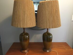 mid century modern glazed ceramic and teak table lamps
