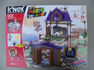 K'NEX SUPER MARIO 3D LAND GHOST HOUSE Building Set NIB 518 Piece