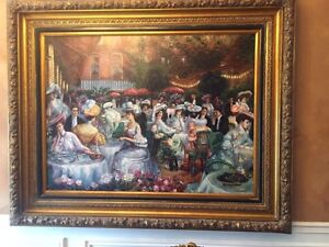 Spectacular European painting in beautiful solid wood frame