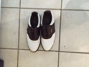 Like new. brown and white footjoy golf shoes