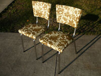 2 Vintage Chrome Chairs with Vinyl Upholstery