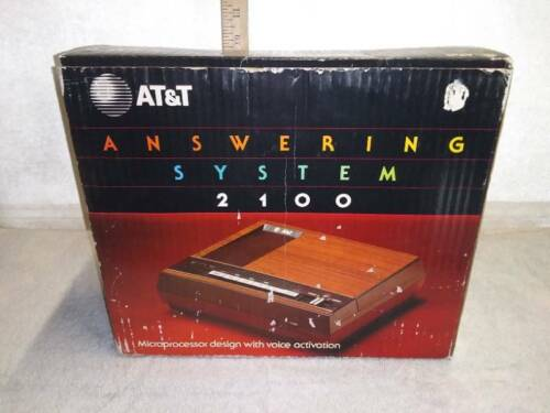 Brand New AT&T ANSWERING MACHINE SYSTEM 2100  Super Rare Vintage 1985 Wood grain