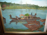 Folk Art Logging Rafting on River Painting Anderson  Ron Tommy
