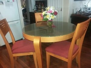 "42"" Glass Top Round Oak Table and chairs"