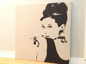 Audrey Hepburn Canvas, 35x35in, Like New