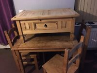 mexican pine Table + 4 chairs Plus coffee table Free local plymouth delivery @ full price £100