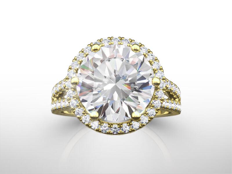 Women Diamond Halo Ring Colorless 5 Carat 14k Yellow Gold Genuine Round Shape