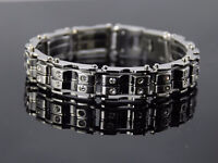 Stainless Steel Chain Link Bracelet With Swarovski Crystals - 9""