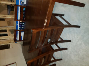 Large wood table & chair set