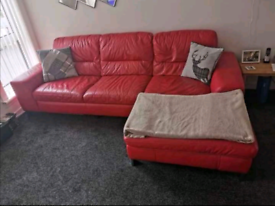 Leather Sofa 3 Seater in Red