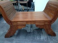 Solid Wood Carved Bench