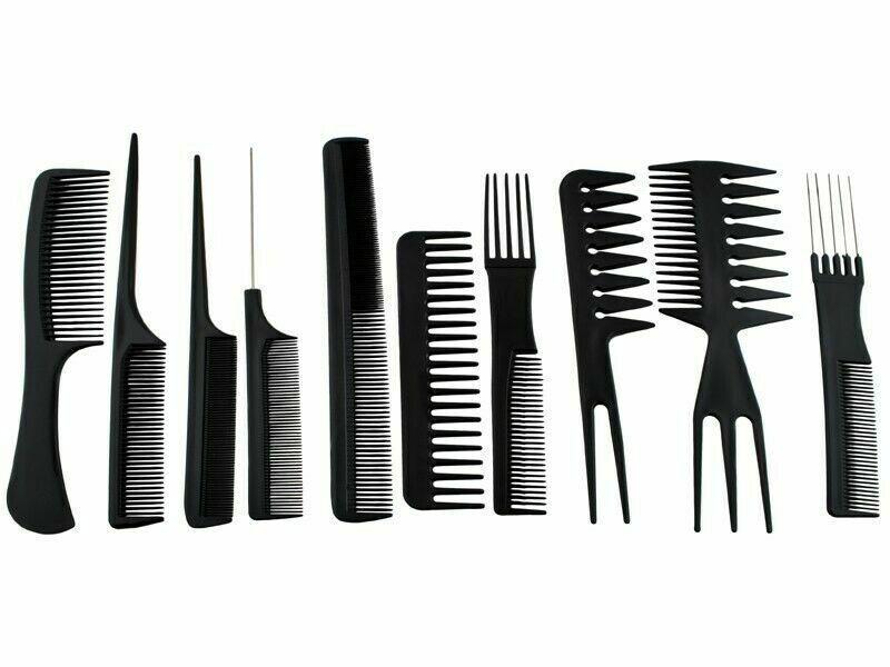 Kamm Set 10stk Frauen Haarstyling Friseur Zubehör Schwarz Herren Bartkamm Salon