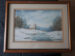 Cottage on a Lake in the Winter - A Painting