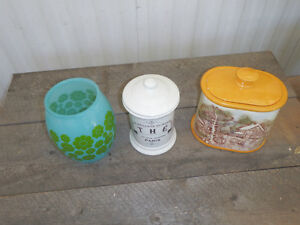lot of glass vintage canisters