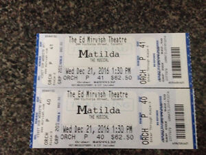 2 Tickets to Matilda - $62.50 face value, asking $100 for pair