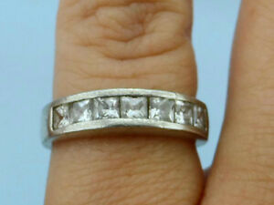 Vintage Inlaid CZs .925 Silver Wedding Band Ring, Size 7