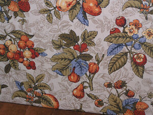 One-of-a-kind vintage 60s fruit fabric valences, cushions, stool