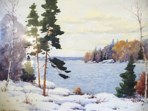 "Original Watercolor by William Blackwood, ""Winter Study"" 1930 Stratford Kitchener Area image 3"