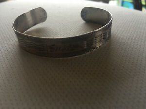 Sterling silver bracelet with etching bangle cuff antique