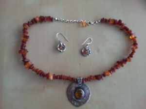 Amber/Silver necklace + earrings