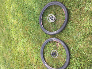 "27"" bike rims with tubeless tire an brake discs."