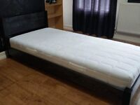 Single black solid wood frame bed and mattress £160