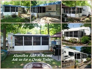 Aluminum structured Add-A-Room for Roll-Up Awnings