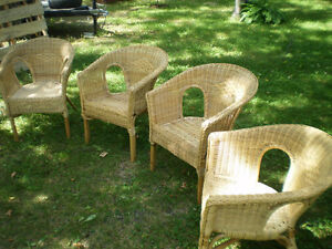 RATTAN CHAIRS- - Set of Four