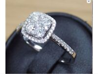 Gorgeous white square diamond ring, size N, RRP £2750