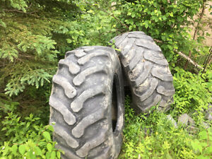 Rear Goodyear backhoe tires.