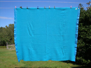 Vintage 100% Wool Blanket Turquoise Blue 83 inch x 72 inch