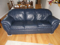 Navy leather couch