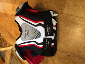 Youth hockey equipment, shoulder and shin pads