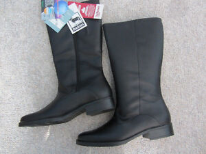 Brand New Ladies Black Waterproof Leather Boots - Size 10N