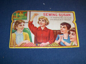 VINTAGE SEWING SUSAN NEEDLE CARD-1940'S-CONTAINS ONLY 7 NEEDLES