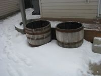 For Sale   2 large Whiskey Barrels Cut off For Flower Planters