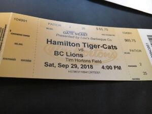 Hamilton Tiger-cats  vs BC Lions Saturday September 29,2018
