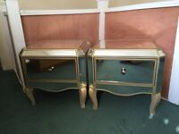 Vintage style mirrored bedside tables