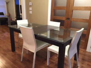Magnifique Table Contemporaine En Merisier Et Verre