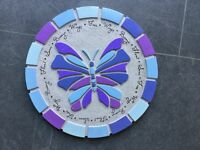 Mosaic Purple butterfly stepping stone / display on wall
